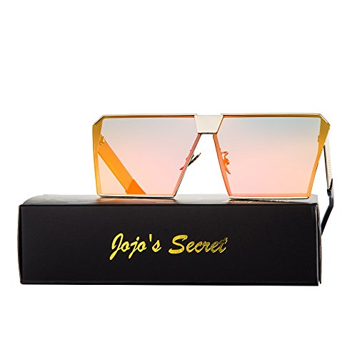 JOJO'S SECRET Oversized Square Sunglasses Metal Frame Flat Top Sunglasses JS009 by JOJO'S SECRET