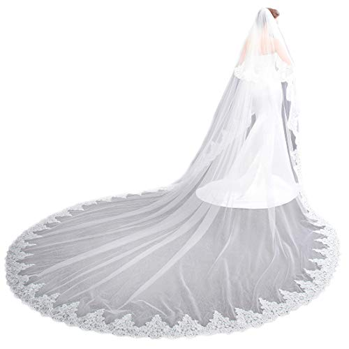 EllieHouse Women's 2 Tier Cathedral Lace White Wedding Bridal Veil With Comb - Train Cathedral Gown Wedding