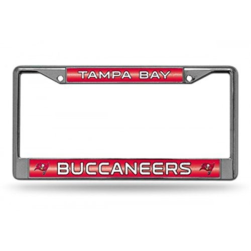 NFL Tampa Bay Buccaneers Bling Chrome License Plate Frame with Glitter Accent ()
