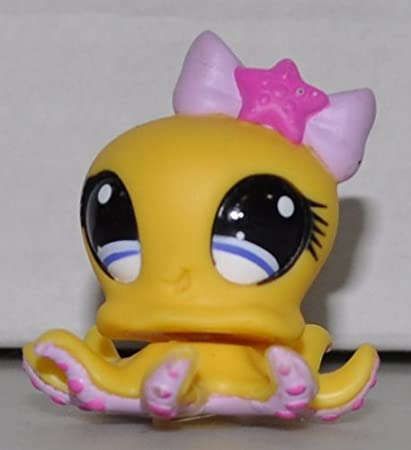 Collector Toy Yellow, Blue Eyes, Purple Bow Loose Octopus #1146 Retired LPS Collectible Replacement Single Figure OOP Out of Package /& Print - Littlest Pet Shop