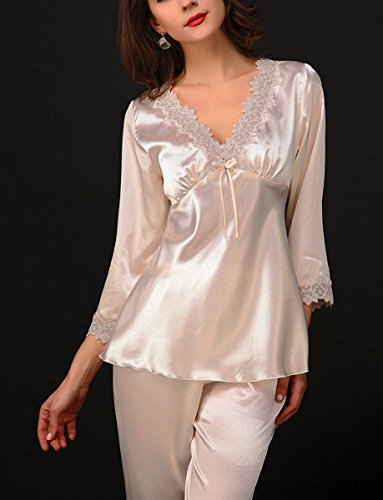 Aivtalk - Conjunto de 2 Piezas de Pijama de Seda Imitación Camiseta Escote en V y Pantalones Largos con Encaje para Mujeres Talla L-XL, Piel, Rosa, Violeta, Rojo Piel
