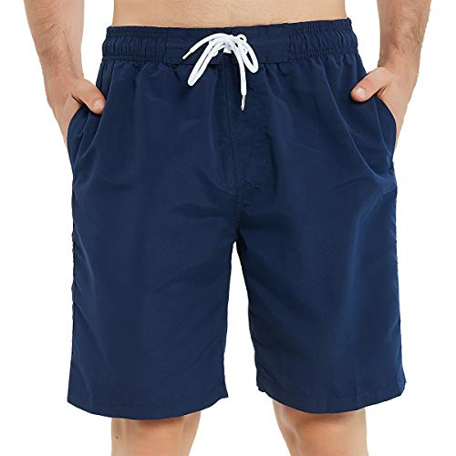 Kailua Surf Mens Swim Trunks Long, Quick Dry Mens Boardshorts, 9 Inches Inseam Mens Bathing Suits with Mesh Lining (Small, Navy Blue)