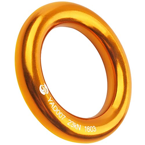 (PROND Aluminum Rappel Ring, Climb Perfect Tension Aluminum Alloy O-Ring, 23KN Rappel Rings for Rock Climbing Arborist and Hammock (Gold - 1 Pcs/Pack))