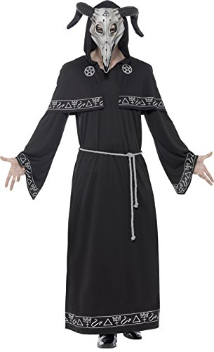 Black Robe Costume Uk (Smiffy's Men's Cult Leader Costume, Robe, Belt and Latex Overhead Mask, Legends of Evil, Halloween, Size L, 45572)