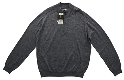 (Kirkland Signature Men's 100% Merino Wool 1/4 Zip Sweater Charcoal Gray Size X-Large)