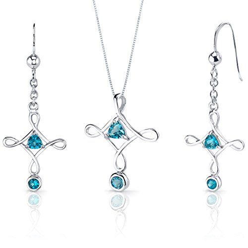 Swiss Blue Topaz Pendant Earrings Cross Necklace Sterling Silver Rhodium Nickel Finish 1.50 Carats - Blue Topaz Cross Earrings