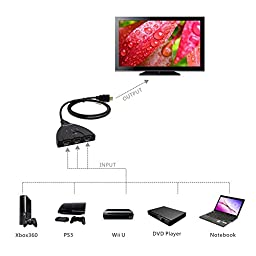 Panlong 3 Port HDMI Switch 3x1 Auto Switch with Fixed 3FT Pigtail Cable Supports 3D, 1080P, HD Audio