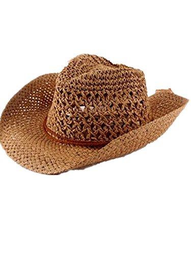SMO cap Corée paille chapeaux de cowboy pour les hommes et les femmes ainsi que quelques grand chapeau de paille dans le chapeau du soleil de plage d'été (559) (kaki)