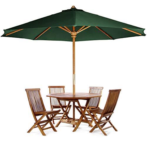 (All Things Cedar TT6P-O-G Teak Octagon Patio Table & Folding Chair Set with Green Teak Market Table Umbrella, 6-Piece)