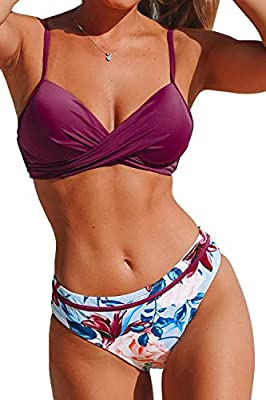 CUPSHE Women's Wrap Top Floral Bottom Bathing Suit Two Piece Sexy Swimsuit
