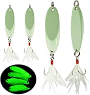 Noctilucent Luminous Fishing Lures Metal Hard Bait Night Glow Sea Fishing Hard Baits Spoon Sequins with Feathe