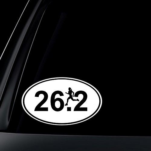 Oval Runner 26.2 Marathon (26.2 Marathon Runner Euro Oval Car Decal / Sticker - Black & White)