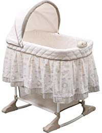 Rocking Bedside Bassinet - Portable Crib with Lights Sounds and Vibrations, Play Time Jungle
