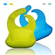 Waterproof Silicone Bib with Food Catcher Flexible Baby Bibs for Feeding Stain Resistance Easy Clean Moldproof Anti Bacteria Pack of 2 (Lime Green+Blue)