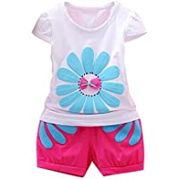 G-real Toddler Baby Girls Kid Letter Ruffle Tops Vest+Pocket Shorts with Flower Belt Summer Outfits for 2-7T Light Blue