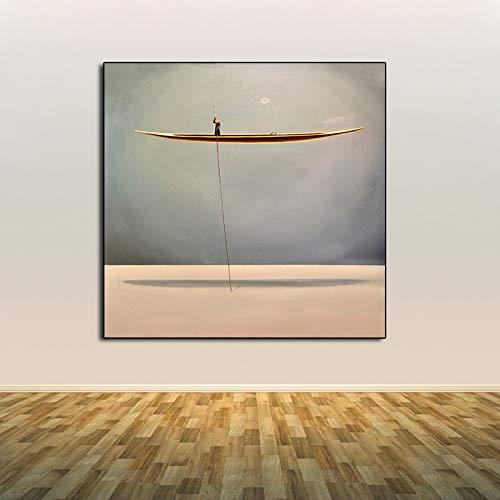 Agcwhls Pintura al oleo del Paisaje costero Barco Dorado Cuadrado con una Hoja lamina de Arte decoracion de la Pared Sala de Estar decoracion de la Pared sin Marco 60x60cm