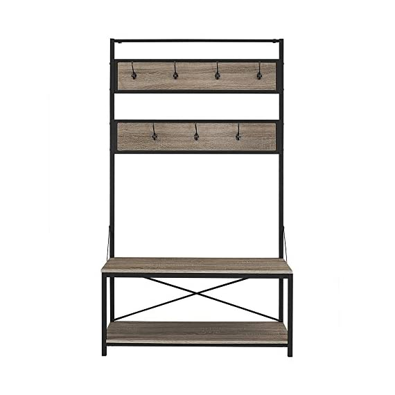 """Walker Edison Furniture Company Farmhouse Entry Bench Mudroom Hall Tree Storage Shelf Coat Rack, 72 Inch, Driftwood - Dimensions: 72"""" H x 40"""" L x 17"""" W Bottom Shelf Dimensions: 13.5"""" H x 38"""" L x 15"""" W Made of high grade MDF, metal, and durable lamiNULLte - hall-trees, entryway-furniture-decor, entryway-laundry-room - 41sppj1z 4L. SS570  -"""
