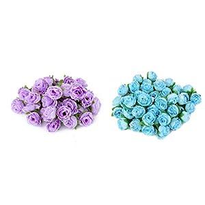 Fenteer 100pcs Mini Artificial Silk Flower Rose Heads Wedding Craft Home Floral Decor 5