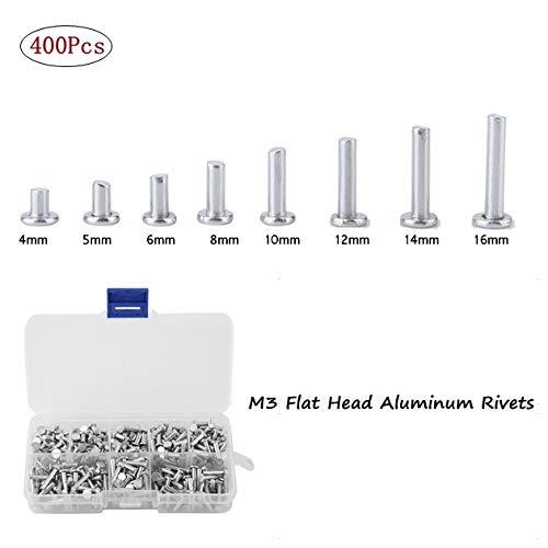 Remache Sólido de Cabeza Plana M3, 400pcs Remaches de Aluminio de Cabeza Plana M3 4mm-16mm Remache Sólido de Cabeza Plana M3