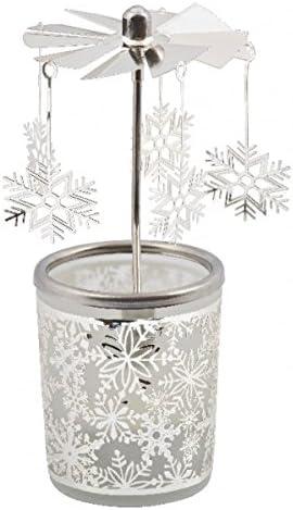 Glas Karussell Teelichthalter Windlicht 84345 Motiv RENTIER 16 x 6 x 6 cm