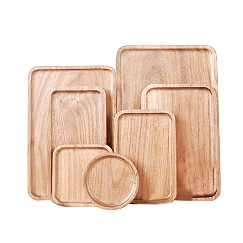 (Yamalans Wooden Serving Tray Plate,Round Square Rectangle Corner Snack Dessert Serving Tray Tea Cup Mug Dining Table Mat Decor Natural Wood 12cm x 1.5cm(Round))