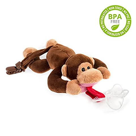 BabyHuggle Monkey Pacifier - Stuffed Animal Binky, Soft Plush Toy with Detachable Silicone Baby Dummy, Paci Clip Leash & Squeaky