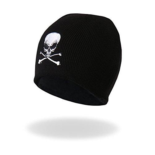 (Embroidered Biker Black Skull and Crossbones Beanie Stocking Cap Hat Winter)