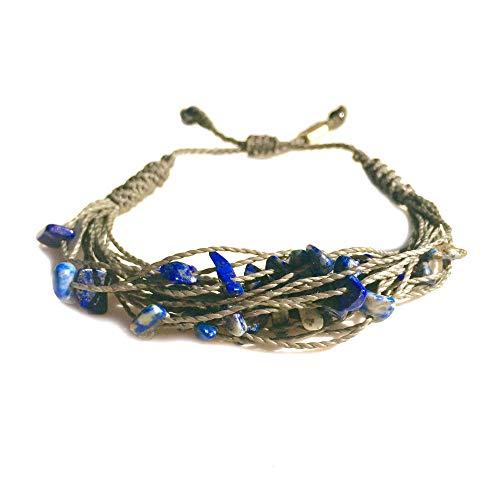 RUMI SUMAQ Gray String Bracelet with Blue Lapis Lazuli Stone Chips Women's Braided Woven Knot Jewelry ()