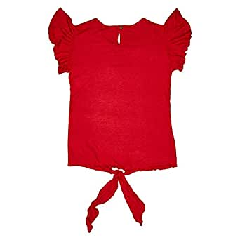 Veronica Red Round Neck Blouse For Girls