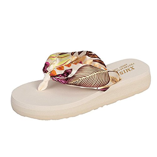 WODEBUY Women's Comfortable Lightweight Anti Slip Satin Lightweight Causal Decorative Flip-Flop Sandals