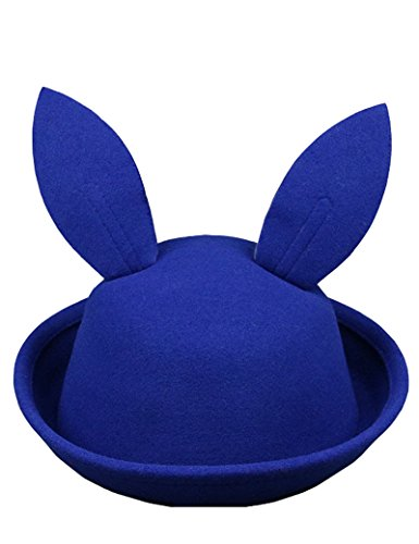Lujuny Cute Kids Hat - Bunny Ear Bowler Wool Trendy Derby Hat with Roll-up Brim for Girl Boy (Blue)