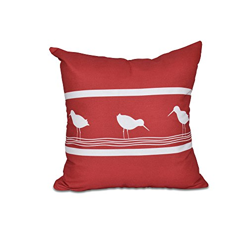 E by design 20 x 20-inch, Birdwalk, Animal Print Pillow, Red by E by design