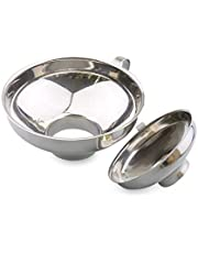 Canning Funnel, 2Pcs Stainless Steel Wide Mouth Hoppe for Transferring Fluid Oil Powder Beans and Jam, Silver (Small and Large)