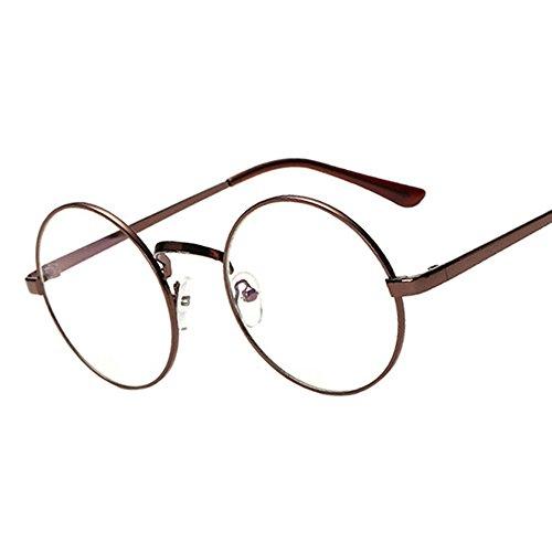 Marrón Oceanheart Transparente y Sol Gafas unisex vidrios de Redondo lente de hombres de Marco de la mujeres Retro para Metal vqvrHTwA