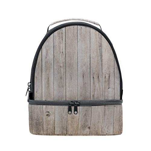 (Wooden Grain Forest Wood Portable School Shoulder Tote Lunch Bag Handbag Kids Double Lunch Box Reusable Insulated Cooler For Women Student Travel Outdoor)