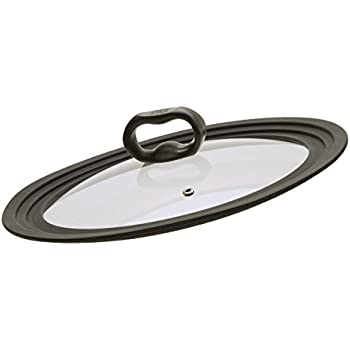 "Ecolution Universal Tempered Glass Vented Lid - Graduated Lid Fits 9.5"", 10"", and 12"" Diameter Pots and Pans - Heat Resistant Silicone Rim"