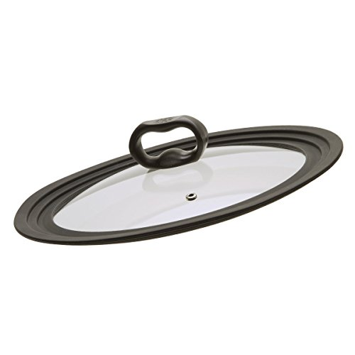 Ecolution Universal Large Lid for Pots and Pans, Vented Tempered Glass - Graduated Lid Fits 9.5 inch, 10 inch, 12 inch - Eye Usa Glasses