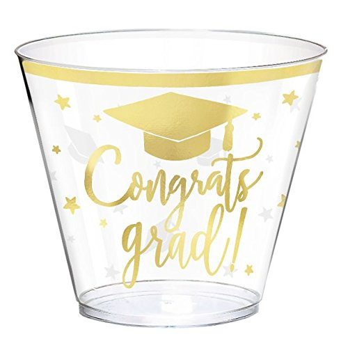 Amscan Congrats Grad Party Plastic Tumbler Hot Stamped Cup, Clear and Gold, 9 oz