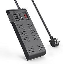 BESTEK 8-Outlet Surge Protector Power Strip 12 Feet Cord 5.2A 4-Port USB Charging Station, FCC ETL Listed