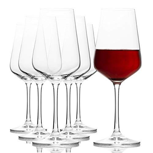 Crystalex Sandra Large Stem Red Wine Glasses Set of 6, Elegant, Durable and Clear Bohemian Glass, Long Stemmed and Aerating, for Burgundy, Bordeaux, Merlot, Pinot Noir,  11.8 Ounces / 350 Milliliters