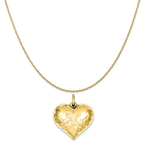 Heart Hammered Gold Puffed (14k Yellow Gold Hollow Polished Hammered Medium Puffed Heart Charm on a Rope Chain Necklace, 16