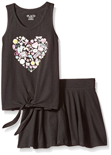 The Children's Place Big Girls' Top and Skirt Set, Black 86820, M (7/8) Girls Skort Skirt Shorts