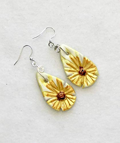 - Yellow Brown White Daisy Earrings Handcrafted Polymer Clay Alcohol Inks Silver Plated French Hooks Lightweight Just for You