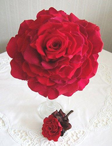 幸せが重なるレッドローズのメリアブーケ(ブートニア付)18cmプリザーブドフラワー【結婚式 深紅のバラメリア 還暦祝い】 B01E93HPAQ