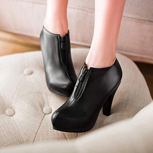 Informal Sólidos Mujer Zapatos Con Botines Cremallera De Negro Altas Calzado Tobillo Súper Botas Redondo Logobeing Tacon 6FgU4xq