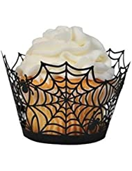 BinaryABC Halloween Cupcake Wrappers,Spider Web Cupcake Wrapper,Halloween Party Decorations Supplies 36Pcs