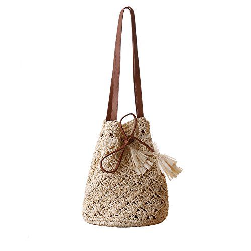 Women Straw Summer Beach Shoulder Bag Tote Handbag Cotton Lining Top Handle Hobo Handbag for Girls (Beige 2)