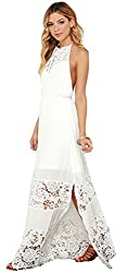 SheIn® Women's White Halter Sleeveless Backless Crochet Lace Maxi Dress