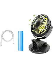 Tangcison Mini Desk Fan, Clip On Fan, Portable Fan 6.7 inch, Rechargeable Battery Operated Fans 3 Speed,Perfect for Home & Office, Outdoor, Travel