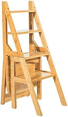 Color de Madera Taburete de Escalera 4 Pasos Silla Plegable multifunción de Doble Uso para el hogar, Taburete, Silla de Escalera para Adultos, niños de 90 cm de Altura: Amazon.es: Hogar